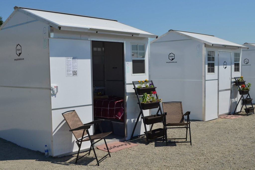 Pallet shelter village in Everett, WA.
