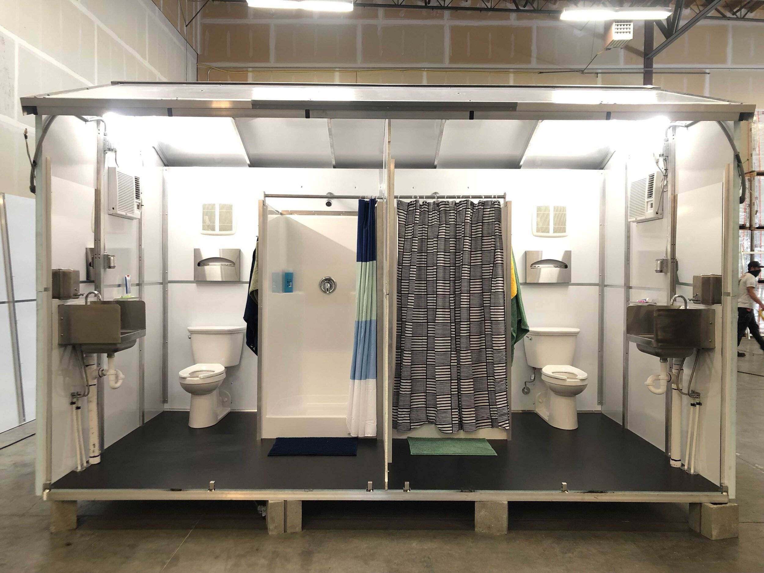 One of five Pallet bathroom configurations in the finalization process at our research and development factory.